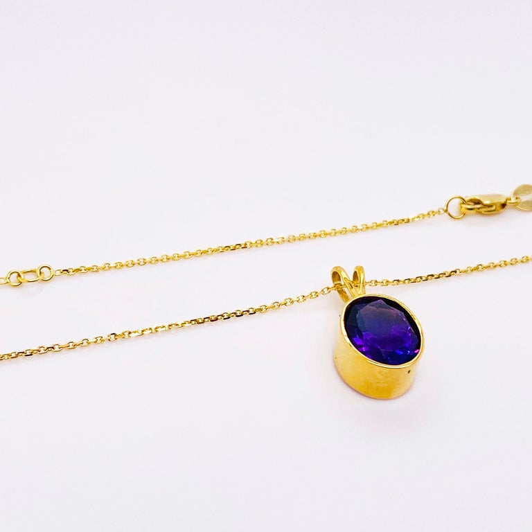 Oval Cut 14 Karat Amethyst Necklace in 14 Karat Gold Bezel with Chain, Adjustable Lengths For Sale