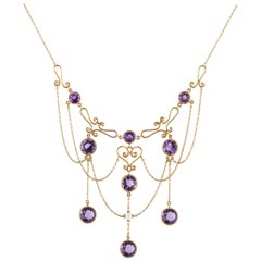 14 Karat Amethyst Swag Necklace