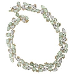 14k , 18k Rose and White Gold Necklace, Earrings and Bracelet Green Amethyst Set