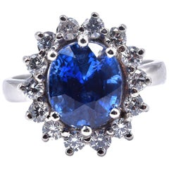14 Karat and 18 Karat White Gold Sapphire and Diamond Ring
