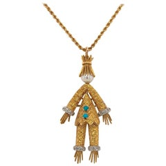 14 Karat Articulated Scarecrow Pin/Pendant with Turquoise, Diamond and Pearl