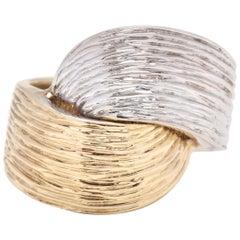14 Karat Bi-Color Gold Textured Knot Ring