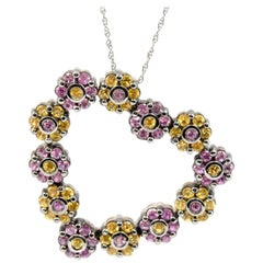 14 Karat Black Rhodium Pink/Yellow Sapphire Heart Pendant