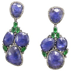 14 Karat Blackened Gold Tanzanite and Emerald Earrings with Diamonds