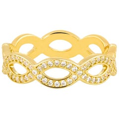 14k Carat Gold Infinity Ring, Braided Diamond Ring, 14K White Gold Wedding Ring