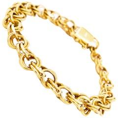 14k Charm Bracelet, 14K Yellow Gold, Handmade Estate, Link Bracelet, Heart Clasp