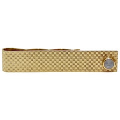 14k Checkered Gold Star Sapphire Tie Clip