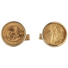 14 Karat Cufflinks with 24 Karat Coins