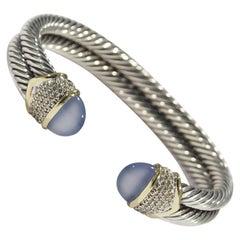 14 Karat David Yurman Diamond Bracelet Chalcedony Cabochon Cable