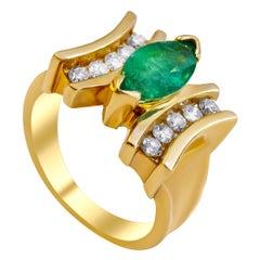 14 Karat Diamond and Emerald Ladies Ring