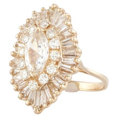 14K Yellow Gold Marquise Diamond Ballerina Ring