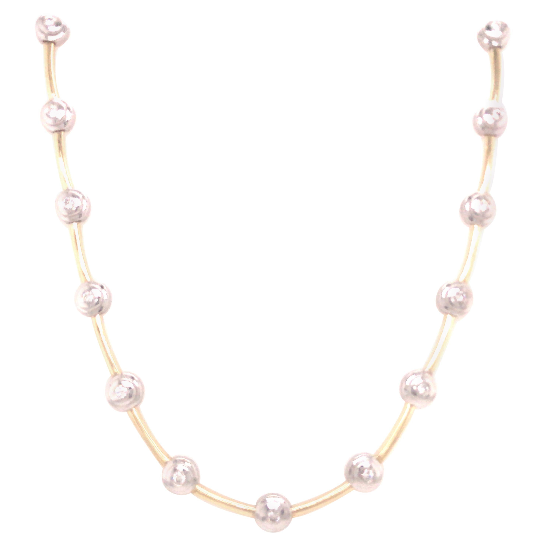 14k Diamond Bezel Link Necklace Two-Tone Gold