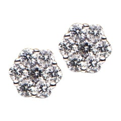 14K Diamond Cluster Stud Earrings