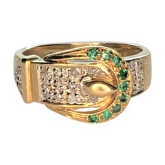 14K Diamond Emerald Buckle Ring