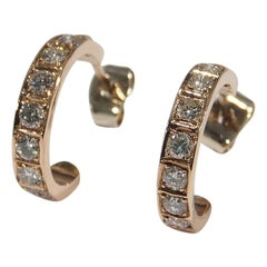 14 Karat Diamond Hoop Earrings Half Rose Gold
