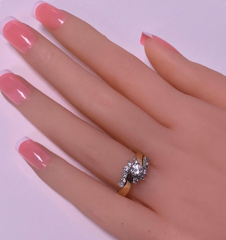 Women's or Men's 14 Karat Diamond Twist Design Ring For Sale