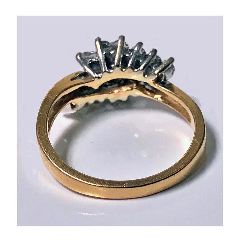 14 Karat Diamond Twist Design Ring For Sale 1