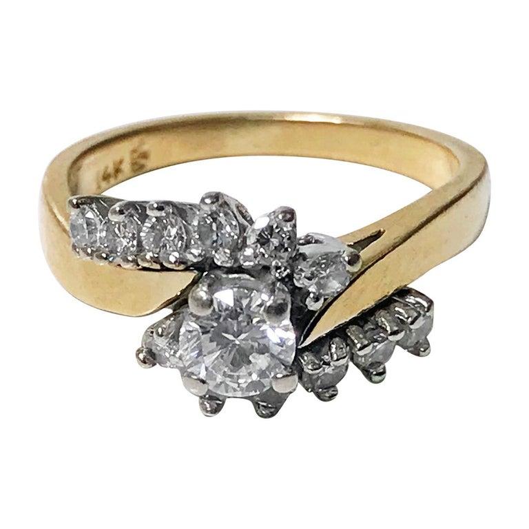 14 Karat Diamond Twist Design Ring For Sale