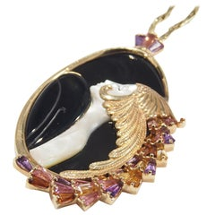 14 Karat Erté Diamond Gemstone Necklace Beauty and the Beast Yellow Gold