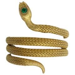 14 Karat Flexible Wrap Around Victorian Snake Bracelet with Vidid Emerald Head