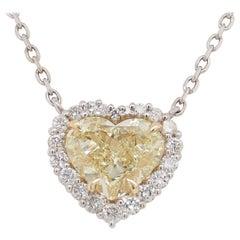 14k GIA Diamond Fancy Yellow Heart Shape Pendant White Yellow Gold 1.73 Carat