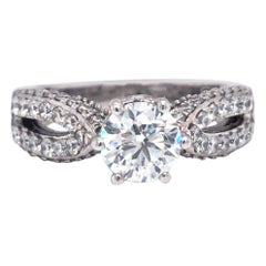 14K Gold 1.00 Carat GIA Certified Natural Round Cut Classic Pave Diamond Ring