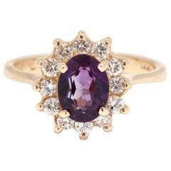 14K Gold, 1.20 Carat Purple Amethyst and .48 Carat Diamond Halo Statement Ring