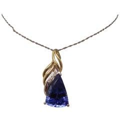 14k Gold 3.47ct Trillion Genuine Natural Tanzanite Pendant with Diamonds '#J718'