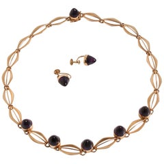14k Gold & Amethyst Necklace & Earring Set