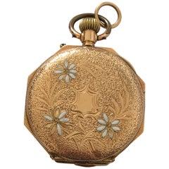 14k Gold Antique Full Engraved Octagonal Case and Enamel Dial Pocket/ Fob Watch