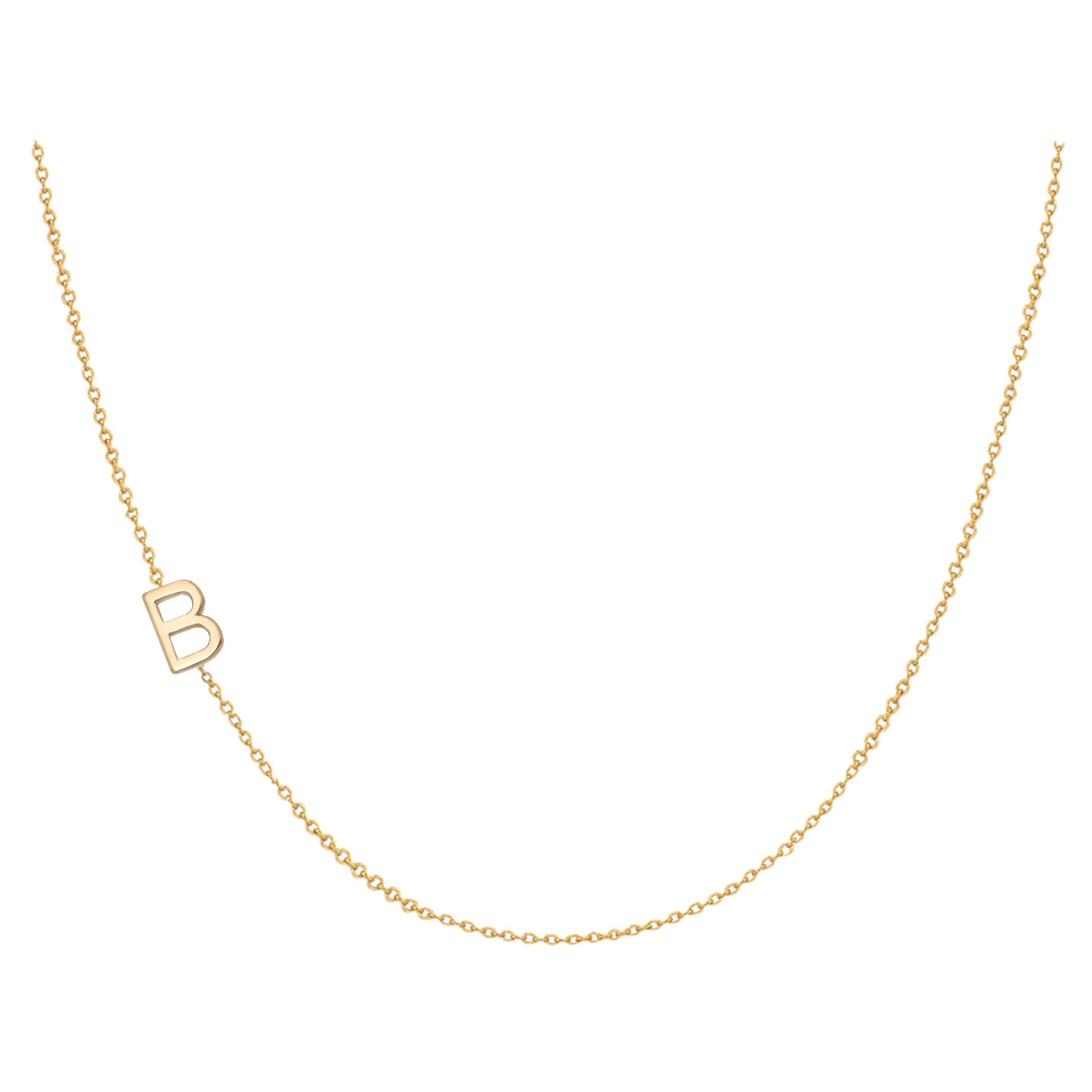 14 Karat Gold Asymmetrical Initial Necklace, B