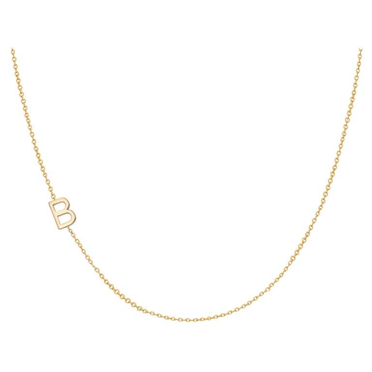 14 Karat Gold Asymmetrical Initial Necklace, B For Sale