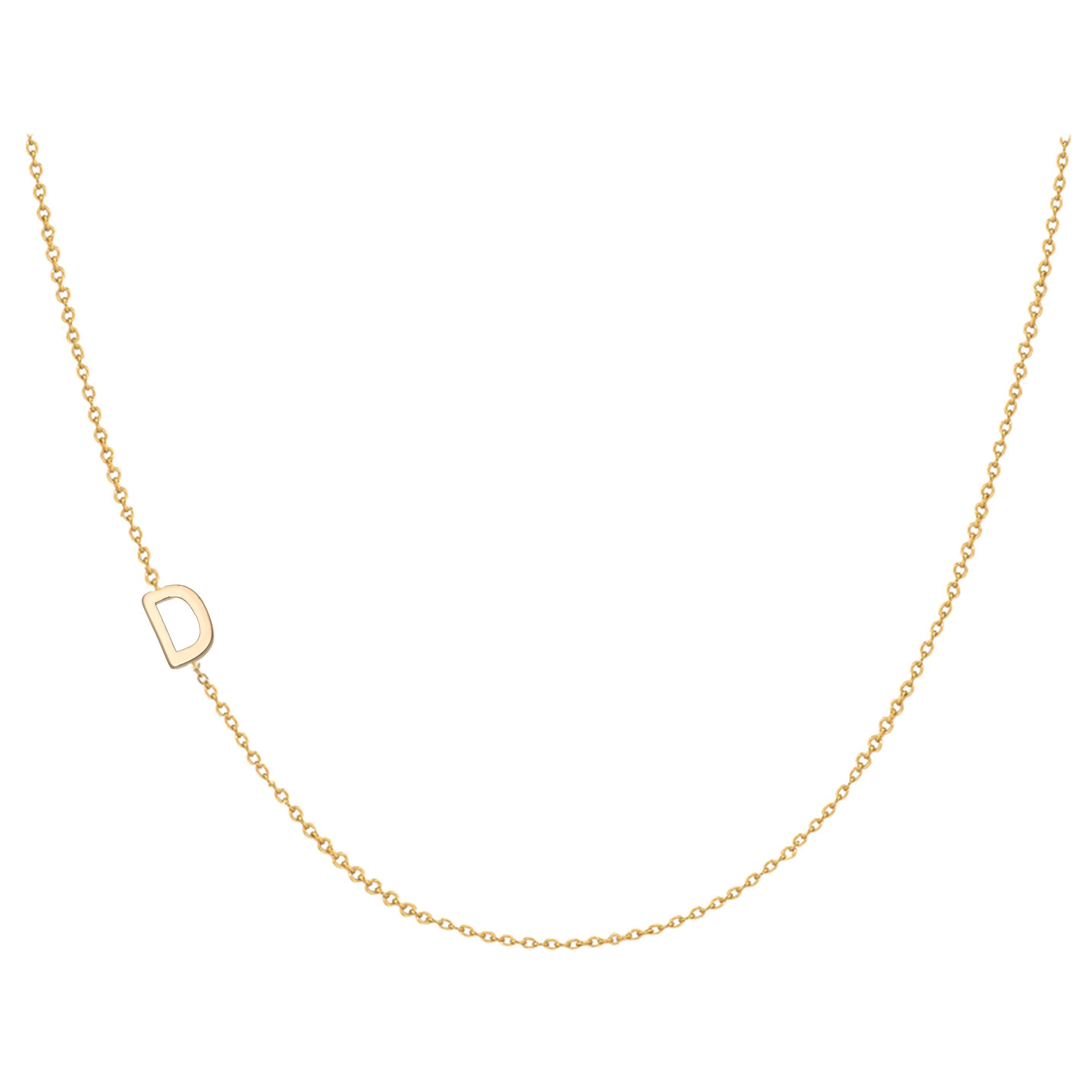 14 Karat Gold Asymmetrical Initial Necklace, D