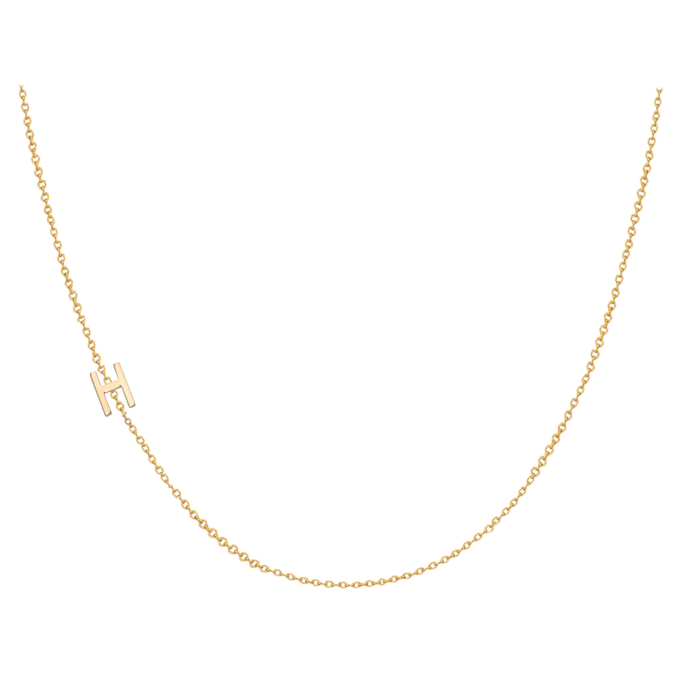 14 Karat Gold Asymmetrical Initial Necklace, H