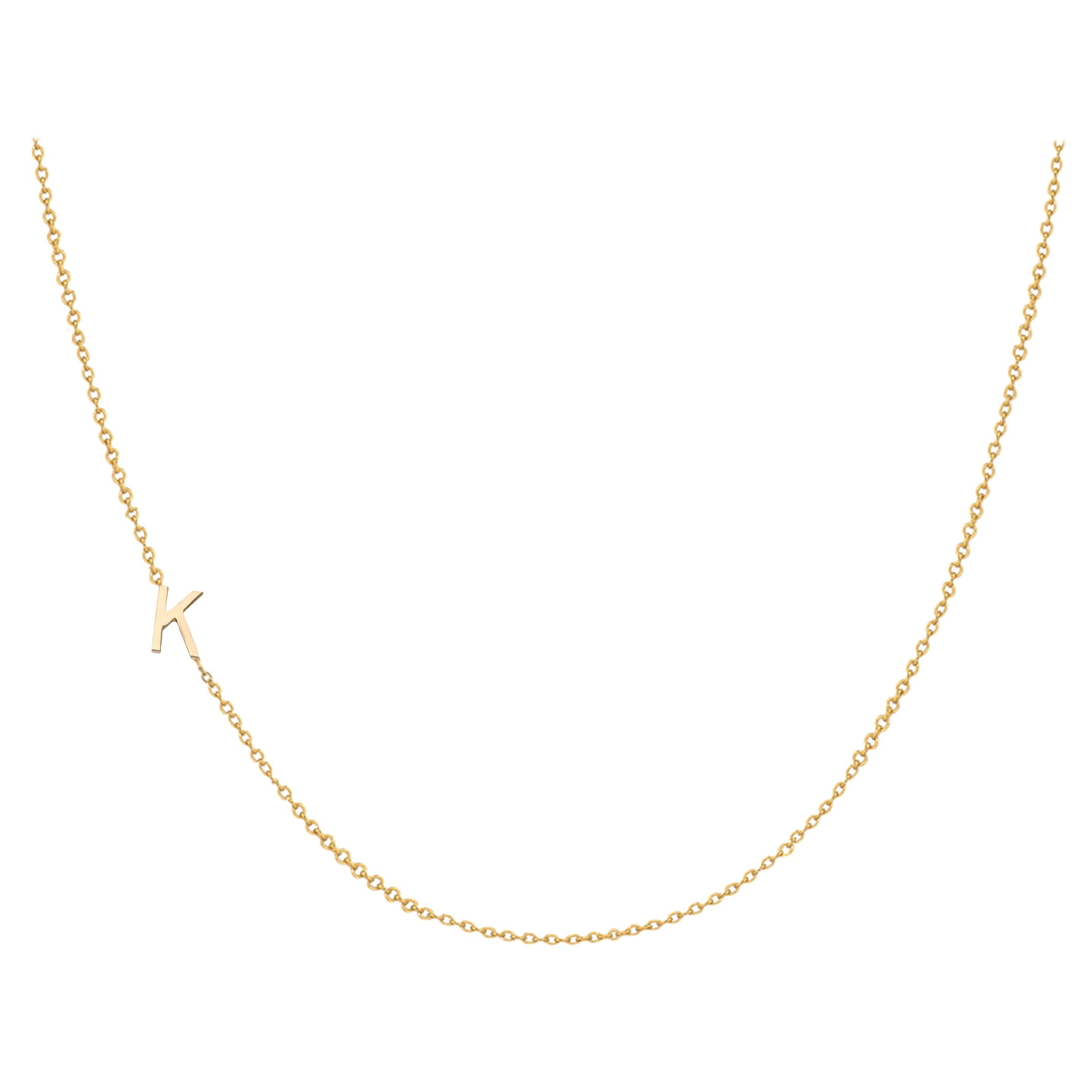 14 Karat Gold Asymmetrical Initial Necklace, K
