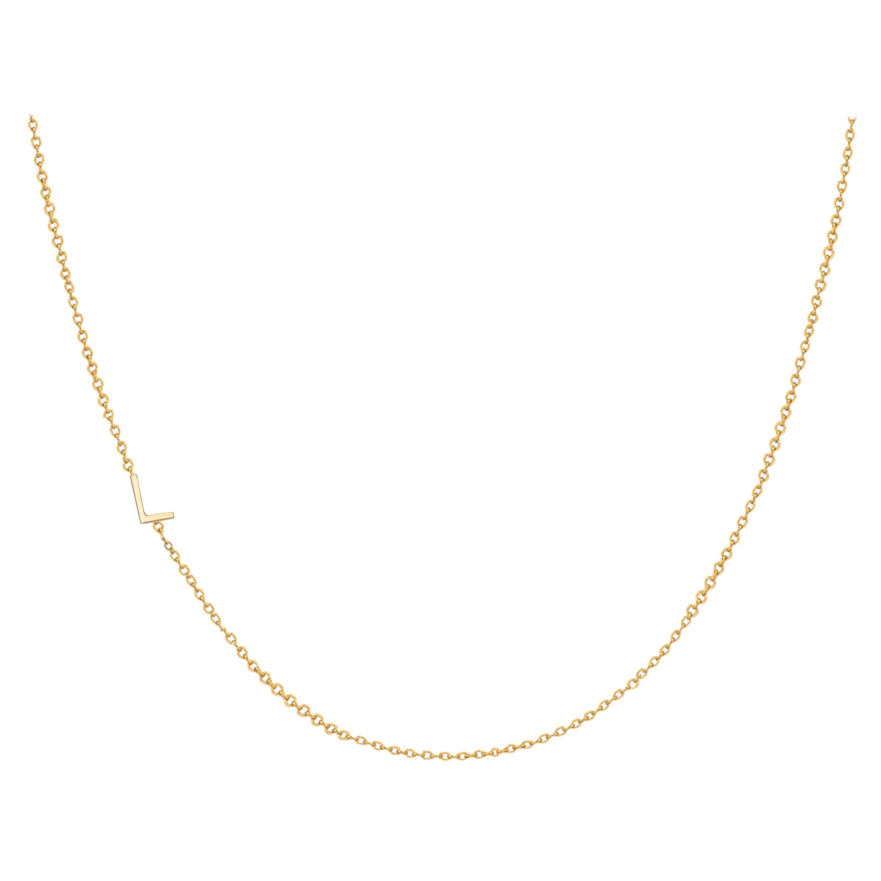 14 Karat Gold Asymmetrical Initial Necklace, L