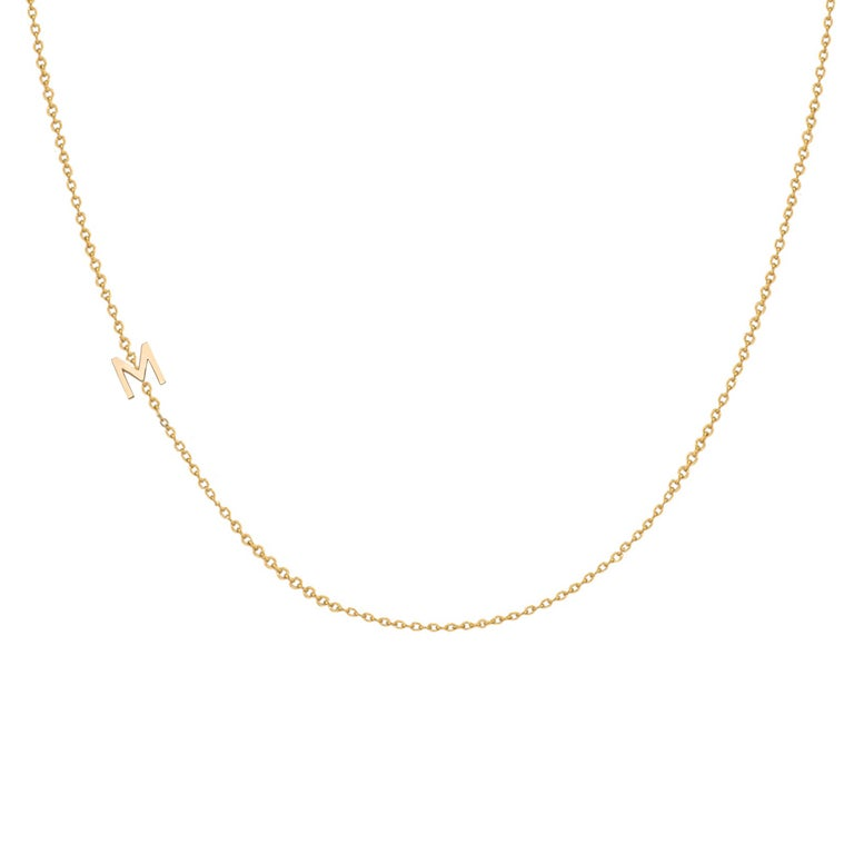 14 Karat Gold Asymmetrical Initial Necklace, M For Sale 3