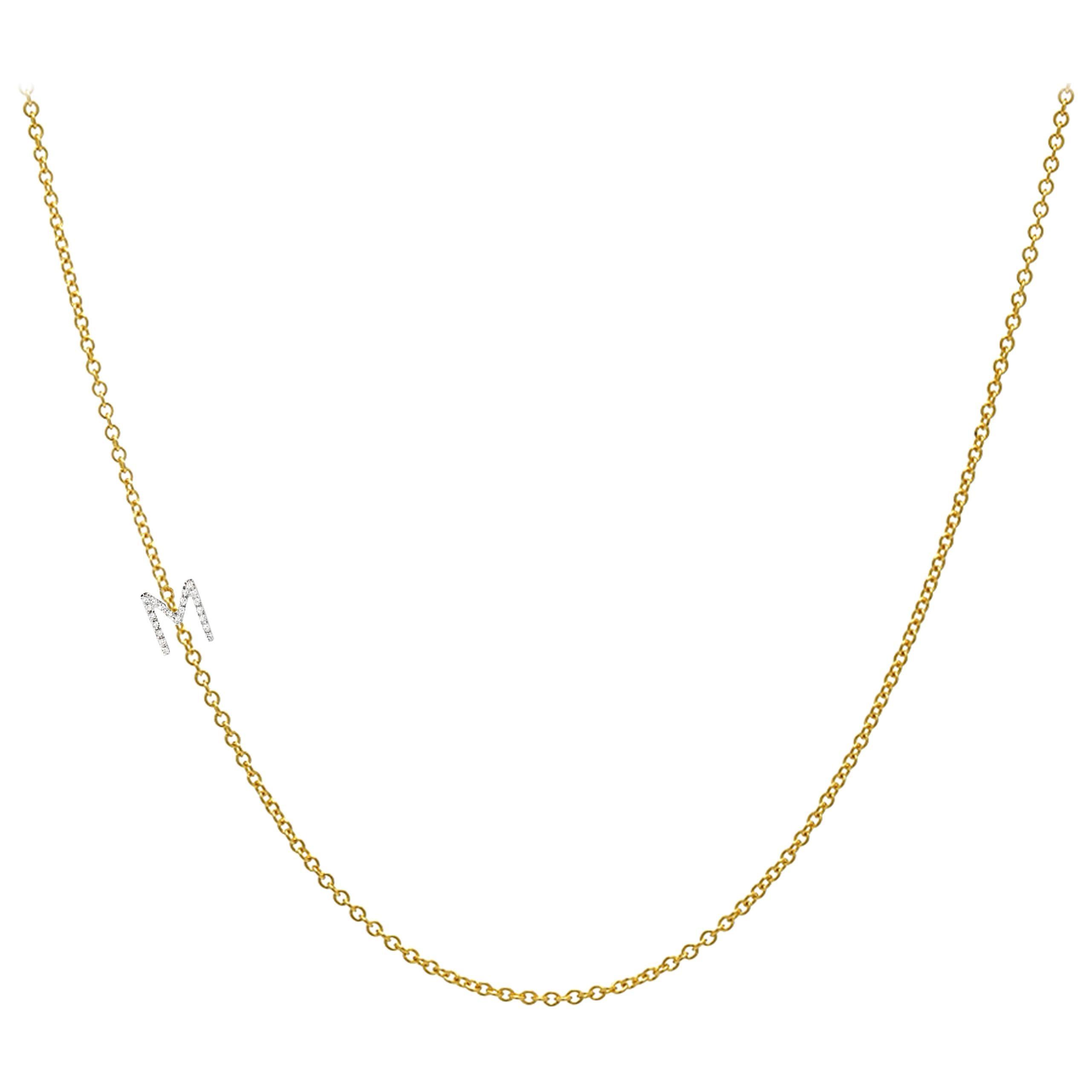 14 Karat Gold Asymmetrical Initial Necklace, M
