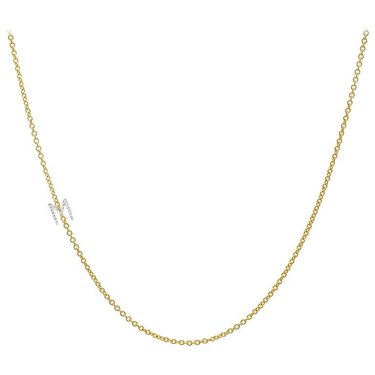 14 Karat Gold Asymmetrical Initial Necklace, M For Sale