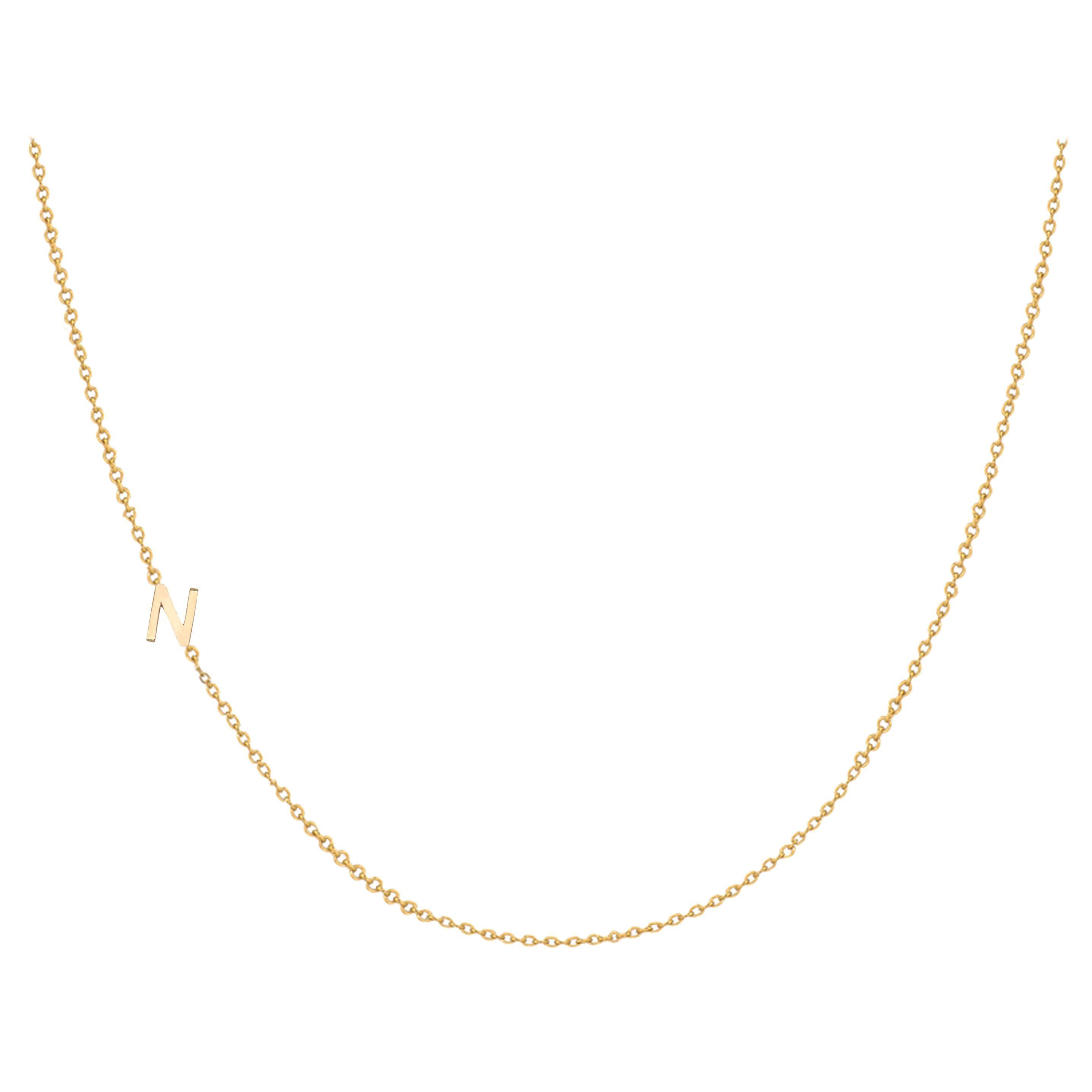14 Karat Gold Asymmetrical Initial Necklace, N