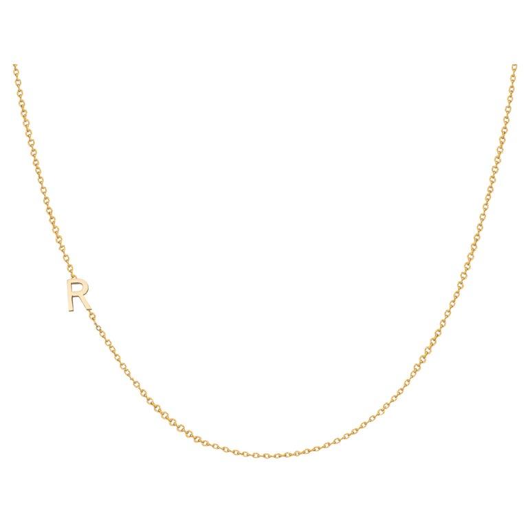 14 Karat Gold Asymmetrical Initial Necklace, R For Sale