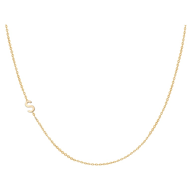 14 Karat Gold Asymmetrical Initial Necklace, S For Sale