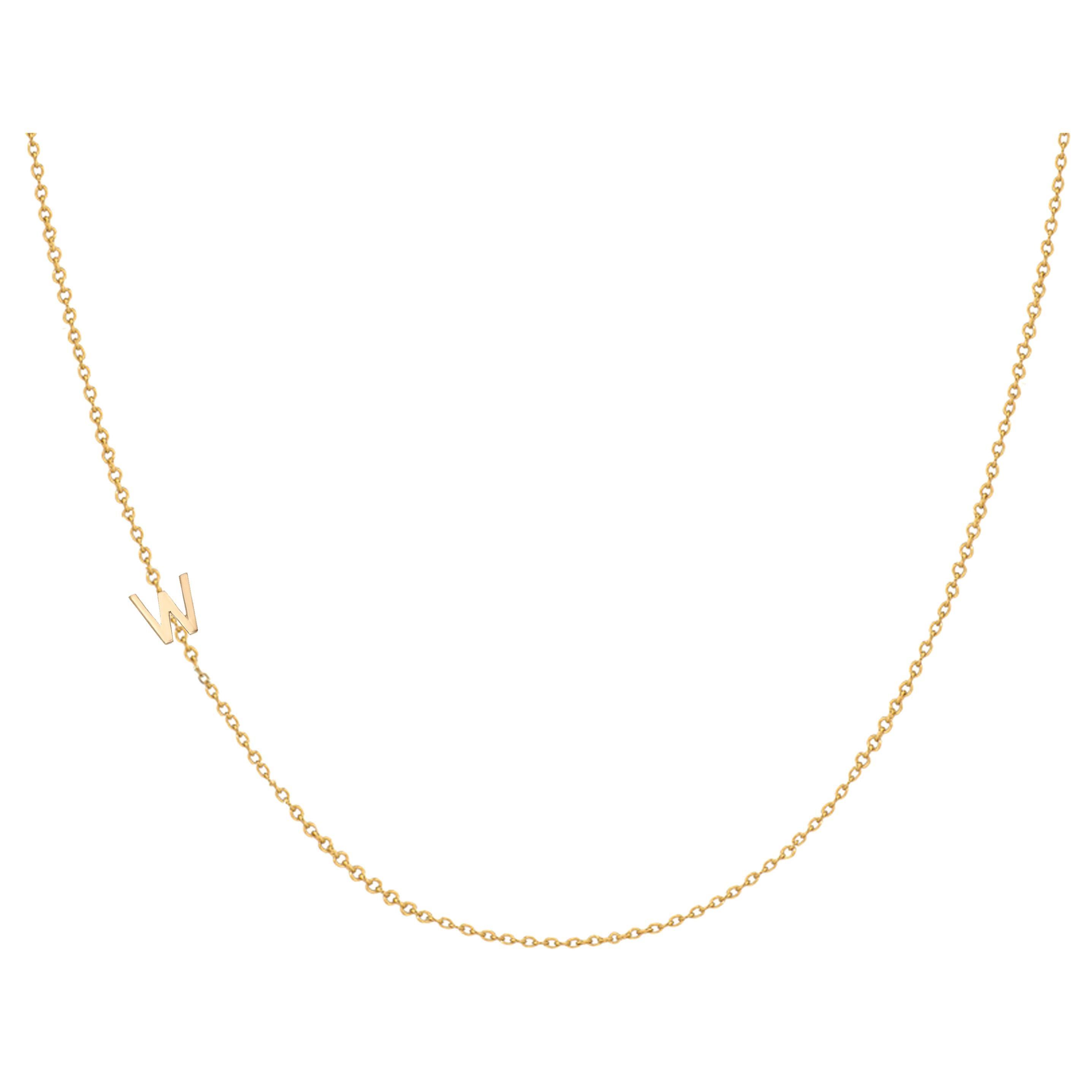 14 Karat Gold Asymmetrical Initial Necklace, W