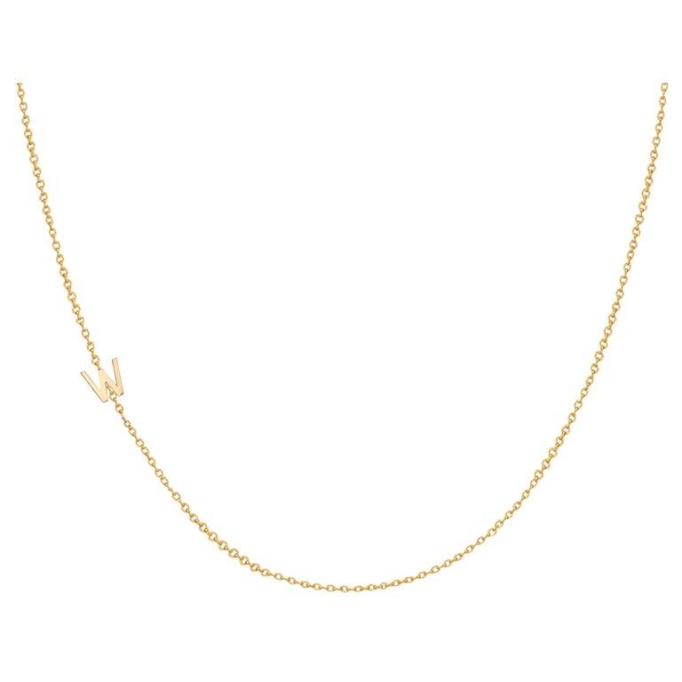 14 Karat Gold Asymmetrical Initial Necklace, W For Sale