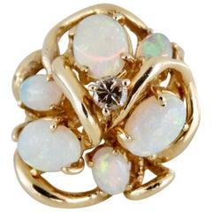 Australian Opal & Diamond Cluster Ring