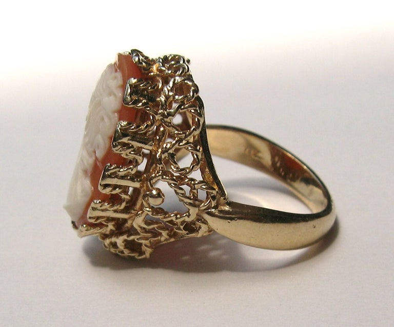14 Karat Gold Cameo Ring For Sale 4