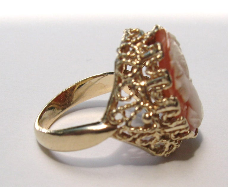 14 Karat Gold Cameo Ring For Sale 5