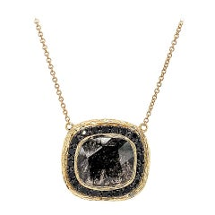 14K Gold Cushion Salt and Pepper and Black Diamond Necklace Center 5.24 Carat