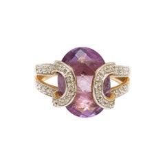 14k Gold, Diamond and Amethyst Ring