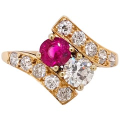 14 Karat Gold Diamond and Ruby Ring